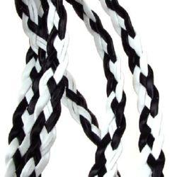 Лента изкуствена кожа 8 мм бяло черно -1 метър