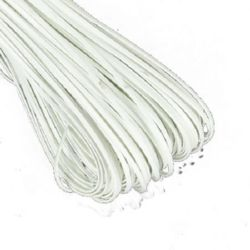 Artificial leather  band  2x1 mm color white -1 meter