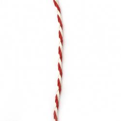 Шнур изкуствена кожа 3 мм объл плетен цвят бял и червен -5 метра