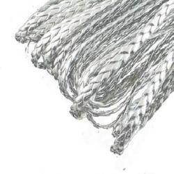 Шнур изкуствена кожа 5x2 мм плосък плитка цвят сребро -1 метър
