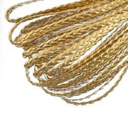 Шнур изкуствена кожа 5x2 мм плосък плитка цвят злато -1 метър