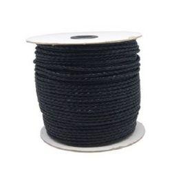Шнур Корея изкуствена кожа 3 мм объл плетен цвят черен -1 метър