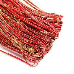 Лента изкуствена кожа 3x1 мм цвят червено и злато -1 метър