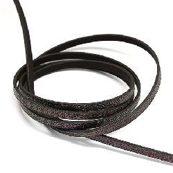 Лента изкуствена кожа 5x2 мм черна със сребърна дъга -1.20 метра