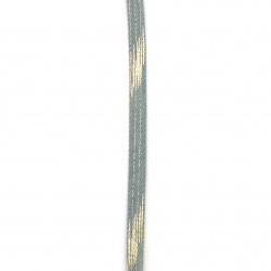 Banda din denim textil 10x2 mm culoare albastru deschis cu auriu -1 metri