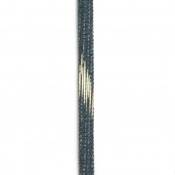 Banda din denim textil 10x2 mm culoare albastru cu auriu -1 metru