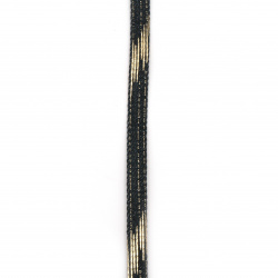 Banda din denim textil 10x2 mm culoare albastru închis cu auriu -1 metru