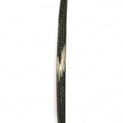 Лента текстил деним 10x2 мм цвят черен със златно -1 метра