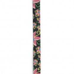 Banda din denim textil 10x5 mm cu imprimeu de flori -1 metru