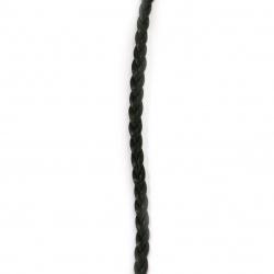 Шнур изкуствена кожа 5x1.5 мм плосък плитка цвят черен -1 метър
