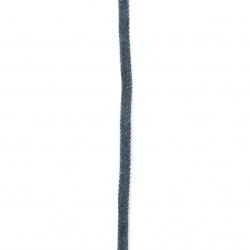 Лента текстил деним 5x2 мм синя -1 метър