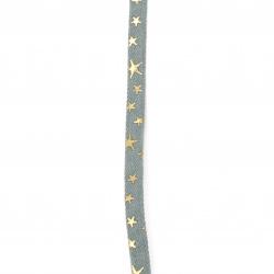 Denim textile ribbon 10x2 mm with star print -1 meter