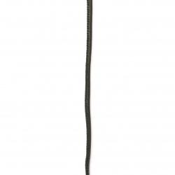 Шнур изкуствена кожа /еко кожа/ 4x2 мм с пълнеж черна -1 метър