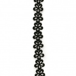 Лента/декоративна/ изкуствена кожа 17 мм за декорация цвете черна -92 см