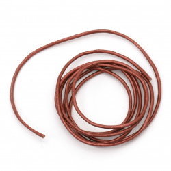 Natural leather cord 1.5 mm pearl tile color - 1 meter