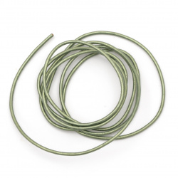 Шнур естествена кожа 1.5 мм перлен цвят зелен - 1 метър