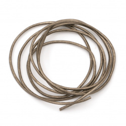 Natural leather cord 1.5 mm pearl color bronze - 1 meter