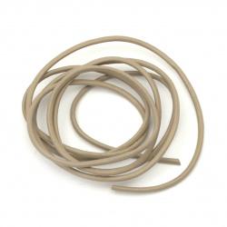 Шнур естествена кожа 2 мм мока - 1 метър