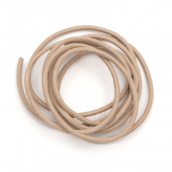 Cordon din piele naturală 2 mm zahăr - 1 metru