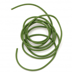 Шнур естествена кожа 2 мм зелен - 1 метър