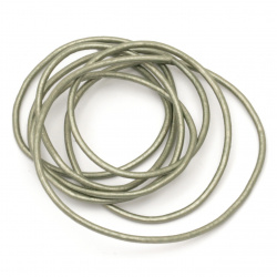 Natural leather cord 2 mm pearl green - 1 meter