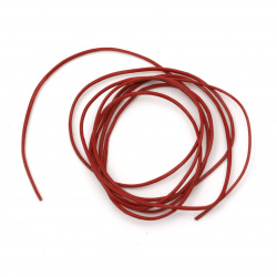 Шнур естествена кожа 1 мм червен - 1 метър