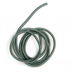 Шнур естествена кожа 3 мм перлен цвят петролен - 1 метър