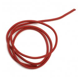 Шнур естествена кожа 4 мм червен - 1 метър