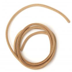 Лента/декоративна/естествена кожа4 мм меланж цвят натурален - 1 метър