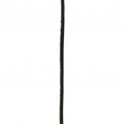 Шнур естествена кожа 3x2 мм първо качество черна - 1 метър