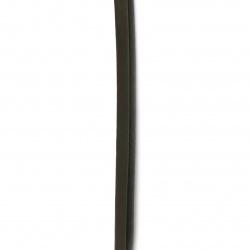 Δερμάτινο κορδόνι 10x6 mm καφέ σκούρο - 1 μέτρο