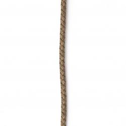 Шнур естествена кожа 5 мм объл плетен меланж цвят кафяв светло - 1 метър