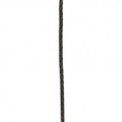 Шнур естествена кожа 3 мм объл плетен цвят черен - 1 метър