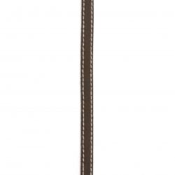 Cordon din piele naturală 10x2 mm maro cu cusătură albă - 1 metru