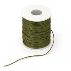Polyamide jewellery elastic  shiny 1.5 mm green olive -10 meters