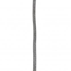 Лента/декоративна/ изкуствена кожа 6x2 мм цвят синя тъмно с брокат -1 метър