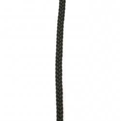 Шнур изкуствена кожа 7x3 мм плосък плитка цвят черен -1 метър
