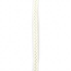 Шнур изкуствена кожа 9x3.5 мм плосък плитка цвят бял -1 метър