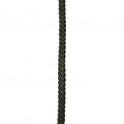 Шнур изкуствена кожа 9x3.5 мм плосък плитка цвят черен -1 метър