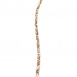 Шнур изкуствена кожа 6x5 мм с пълнеж кафяв цветя -1 метър