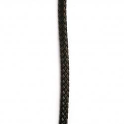 Шнур изкуствена кожа 9.5x5 мм плосък плетен цвят черен и кафяв -1 метър