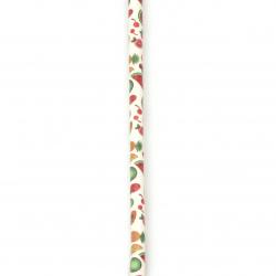 Шнур изкуствена кожа 6x5 мм с пълнеж плодове -1 метър