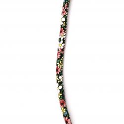 Шнур изкуствена кожа 6x5 мм с пълнеж цветя -1 метър