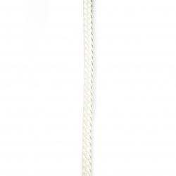 Шнур изкуствена кожа 8.5x4 мм плосък плетен цвят бял -1 метър