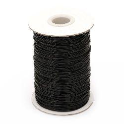 Шнур памук Корея 1 мм черен -20 метра