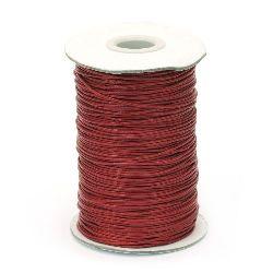 Шнур памук Корея 1 мм червен -20 метра