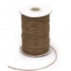Шнур памук Корея 1 мм бежов тъмен -180 метра