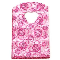Punga PE 14,2x9 cm roz cu inimioare -50 bucăți