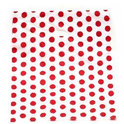 Σακούλα PE νάιλον 60x50 cm πουά λευκό/ κόκκινο