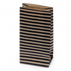 Paper gift bag with bottom 9x5.5x18 cm stripes -12 pieces